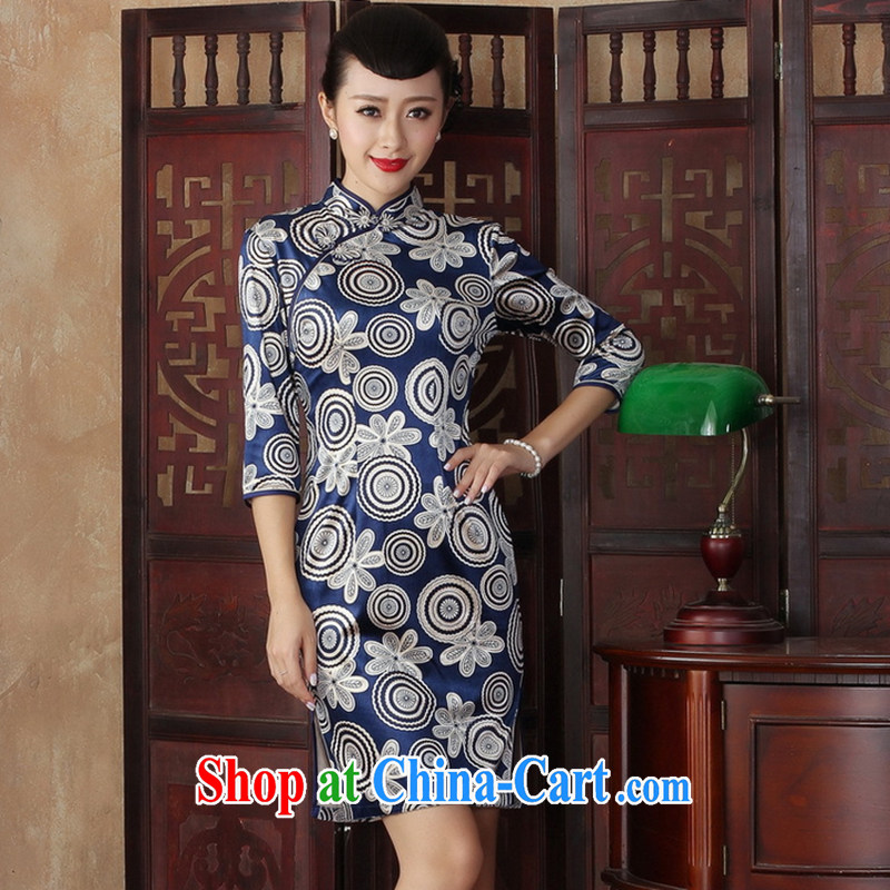 Take the fall with stylish and improved the collar cheongsam dress retro Daily Beauty graphics thin elegant mother dress dresses such as figure 2 XL