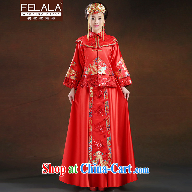Ferrara 2015 bride Chinese Antique cheongsam Phoenix use long-sleeved retro wedding toast Sau Wo serving pregnant women, Suzhou XL shipping