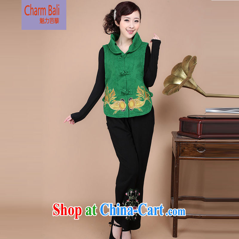Autumn 2014 the Chinese T-shirt Chinese Ethnic Wind female a jacket pants two-piece to sell FG 17 green package M