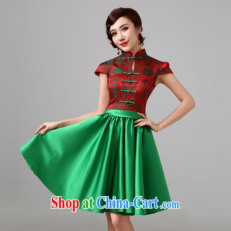 2015 New Evening Dress improved cheongsam green dress short erase chest Princess small dress is tailored to, according to Lin, Elizabeth, and shopping on the Internet