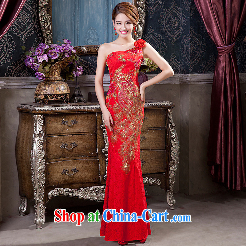 2014 New Red cheongsam long, improved cultivation and stylish single shoulder marriages bows dresses skirt tailored