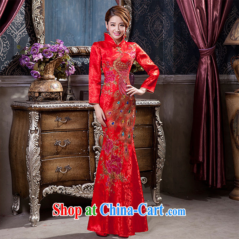 2015 new bridal dresses quilted Chinese Chinese wedding dresses toast welcoming ceremony ceremonial dress tailored