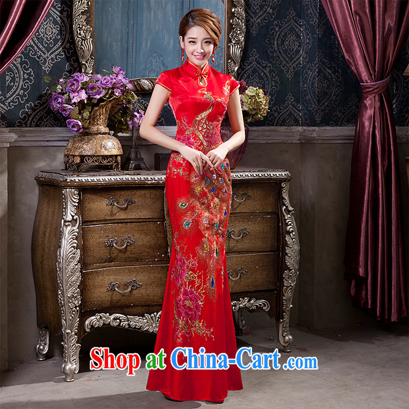 Chinese improved in short, long, short-sleeved qipao gown Ethnic Wind beauty floral bridal wedding dresses XL