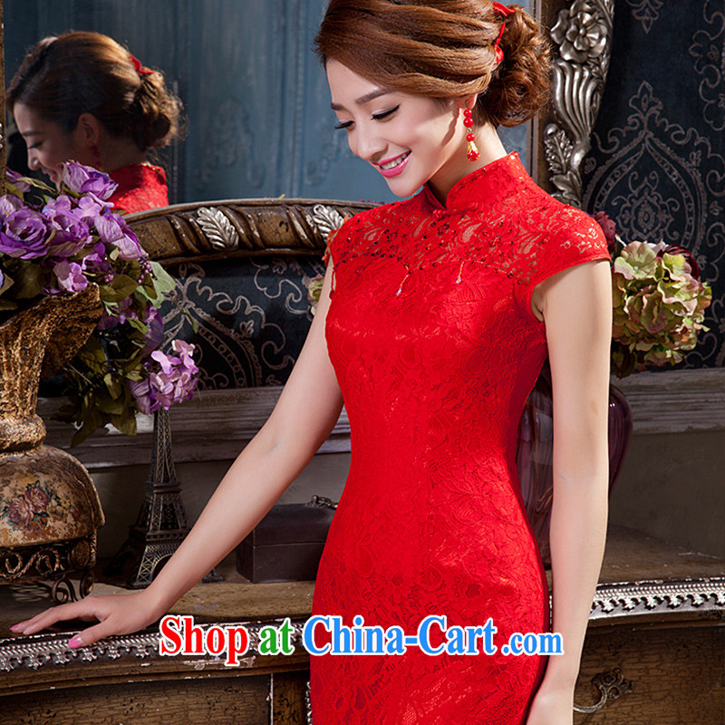 Red long dresses wedding dresses bows Service Bridal beauty girl lace crowsfoot retro wedding dress XS