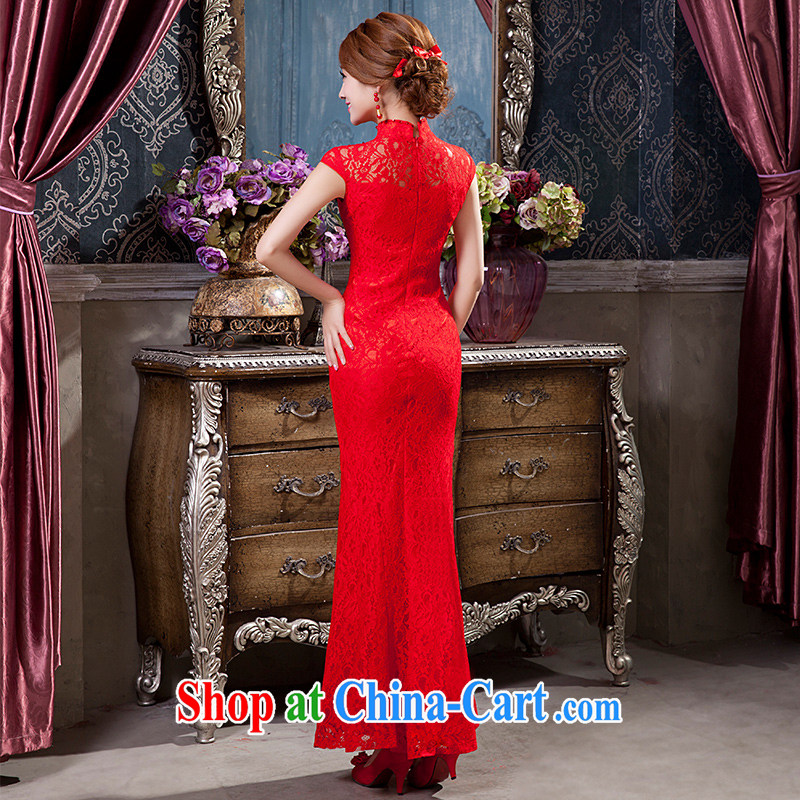 Red long dresses wedding dresses bows Service Bridal beauty girl lace crowsfoot retro wedding dress XS, according to Lin, Elizabeth, and shopping on the Internet