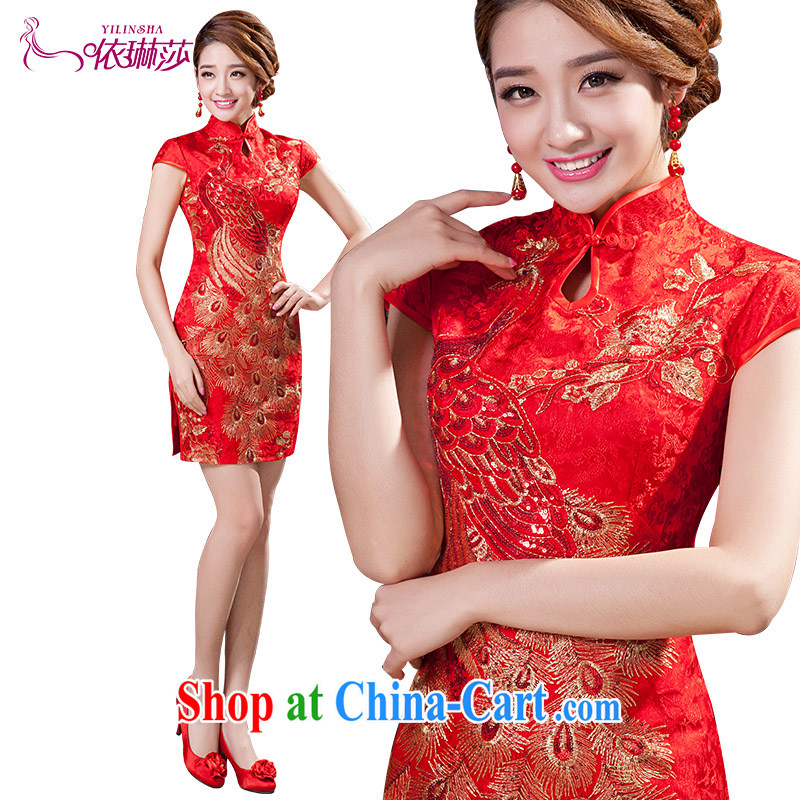 2015 new Chinese improved short cheongsam beauty bridal wedding toast clothing cheongsam dress tailored