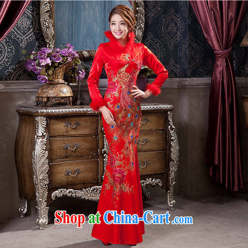 2014 new toast Service Bridal red autumn and winter wedding dress clip cotton long-sleeved improved cheongsam dress back to the bride with a tailored