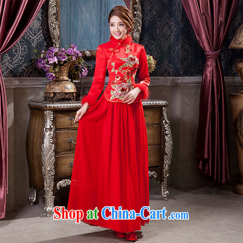 2014 new toast Service Bridal Fashion wedding dresses Chinese Dress retro improved long-sleeved long, married women clothing tailored