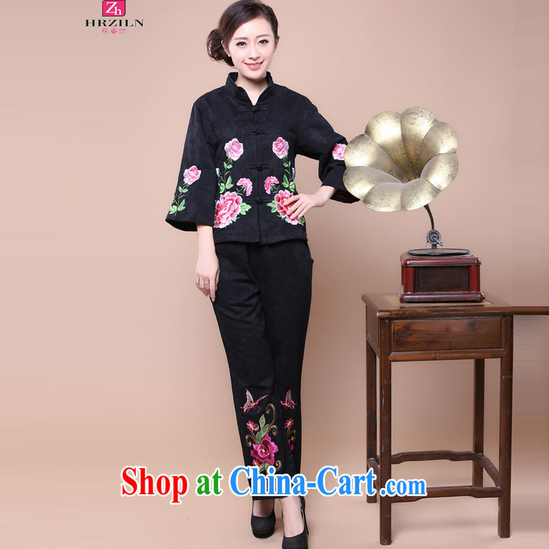 2014 fall and winter Korean beauty and stylish Chinese Ethnic Wind Chinese cotton jacquard Kit two kits to sell FGRS Black Kit XXXL