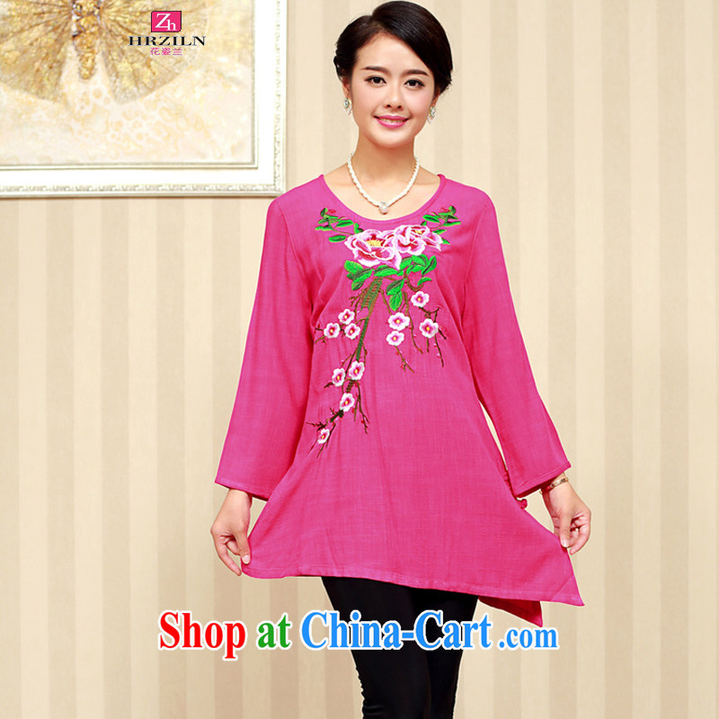 2014 Korean version in cultivating older stylish cotton embroidered Chinese T-shirt FGRS better red XXXL