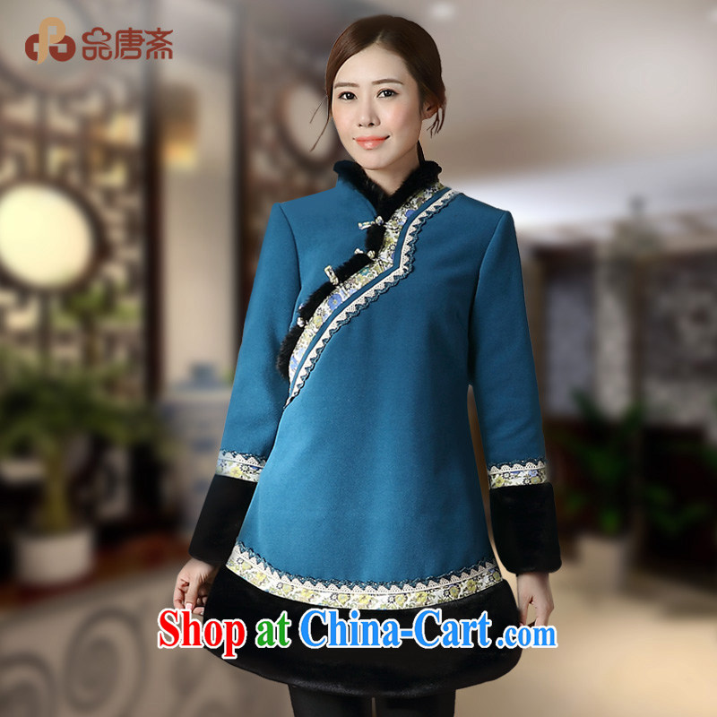 Mr Henry Tang, Id al-Fitr 2014 autumn and winter new Ethnic Wind long-sleeved loose retro Tang jackets blue XL