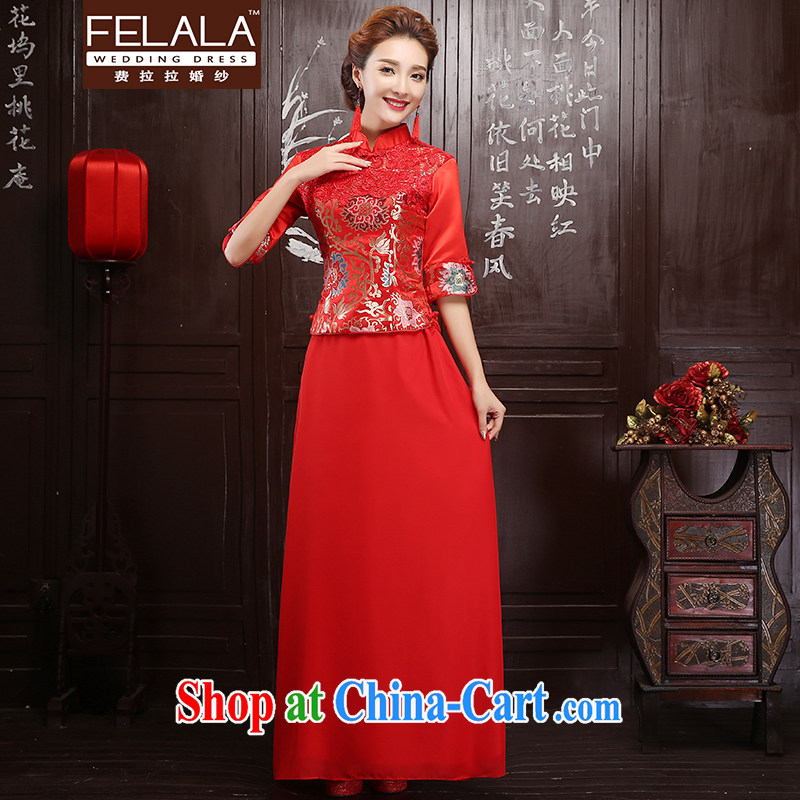 Ferrara red 2015 new bride toast cheongsam 7 cuff autumn and winter, water-soluble lace cheongsam L Suzhou shipping