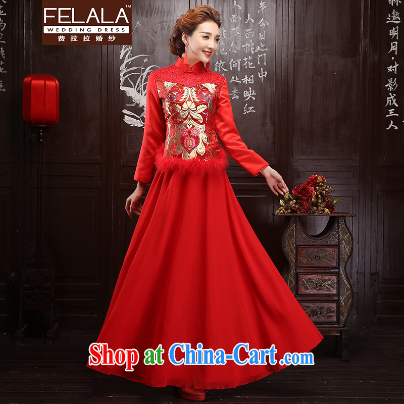 La winter 2015 new bridal dresses long sleeved winter clothes long wedding dresses improved retro dresses XL Suzhou shipping