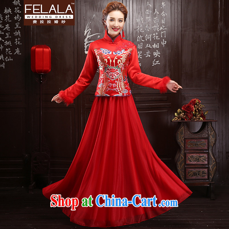 Ferrara 2015 New red-waist long, thick plush clip-robes bows serving XL Suzhou shipping