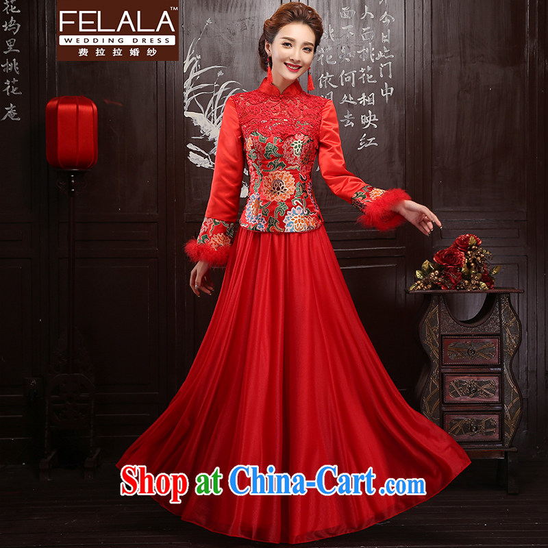 Ferrara red 2015 new winter clothes bridal toast cheongsam long-sleeved gown, winter cheongsam dress winter XL Suzhou shipping