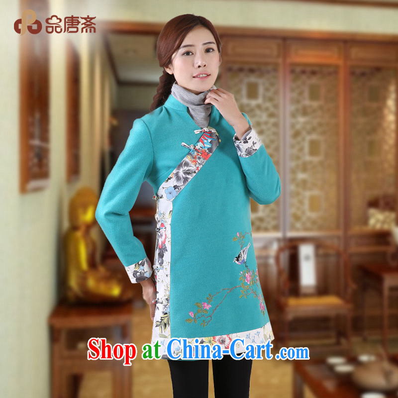 For Tang Ramadan 2014 winter clothes new Ethnic Wind long-sleeved loose retro dresses shirt lake water green XL