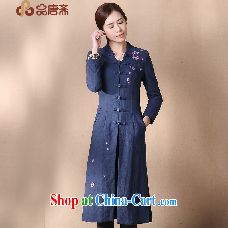 Mr Tang, Id al-Fitr autumn 2014 the new National wind cotton Ma Sau San video thin improved cheongsam shirt blue L