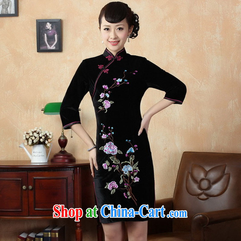 Ko Yo vines into exciting and 2015 spring and summer new paragraph 7 sub-cuff improved manual embroidery stretch gold velour cheongsam dress Chinese-short cheongsam dress TD 0010 black 175/2 XL