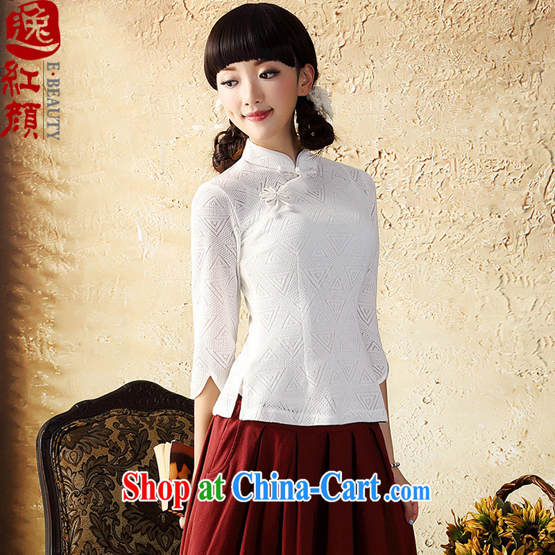 proverbial hero once and for all and gardenias in Knitted cuffs cheongsam shirt improved China wind Chinese Tang Women's clothes Ethnic Wind white XL