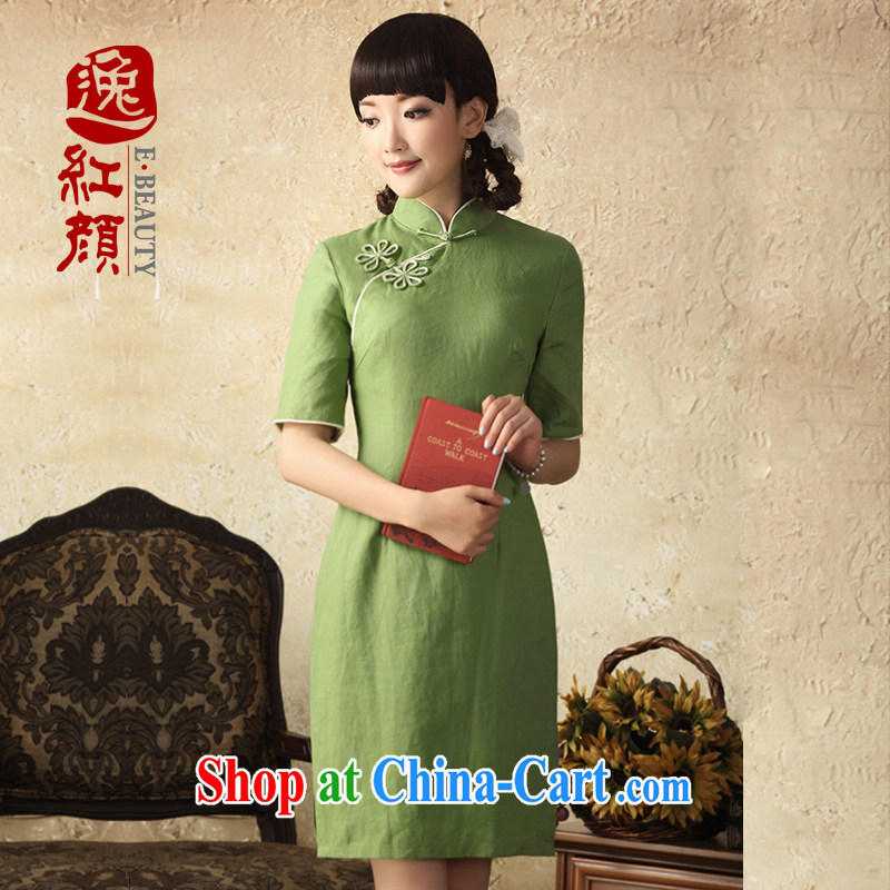 once and for all, fatally jealous flowers linen cheongsam dress 2015 spring and summer improved stylish cotton cultivating the cheongsam dress green beans 2 XL