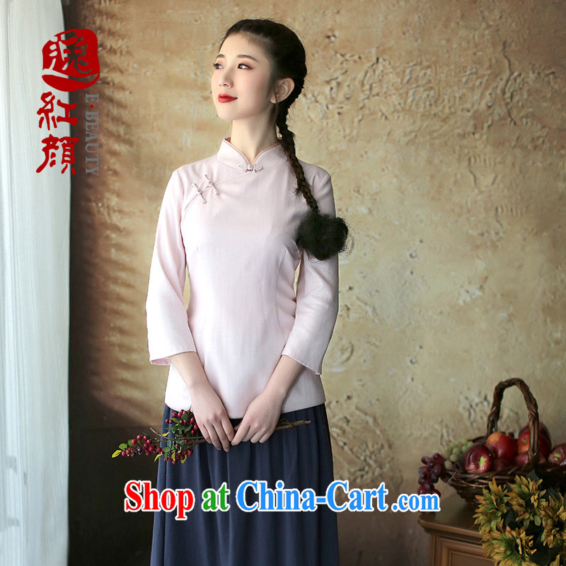 Once the proverbial hero youth arts and cultural units in the cheongsam sleeves T-shirt improved autumn replace China wind female ethnic wind pink XL
