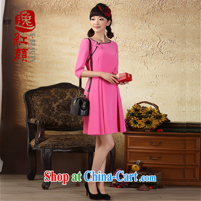 once and for all the proverbial hero, China in the wind cuff dress autumn 2015 the new National wind women sexy short skirts of red XL