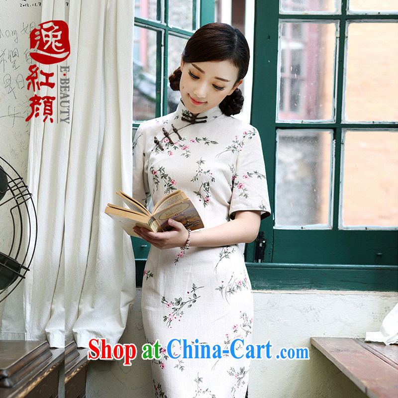 once and for all forget fatally jealous mind grass linen dresses fall skirt with improved stylish long cotton the cheongsam dress light gray S