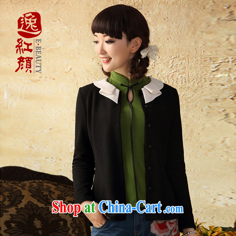 proverbial hero once and for all that decentralization of Ms. long-sleeved T-shirt outfit improved Autumn with Chinese style Chinese female Ethnic Wind black 2 XL