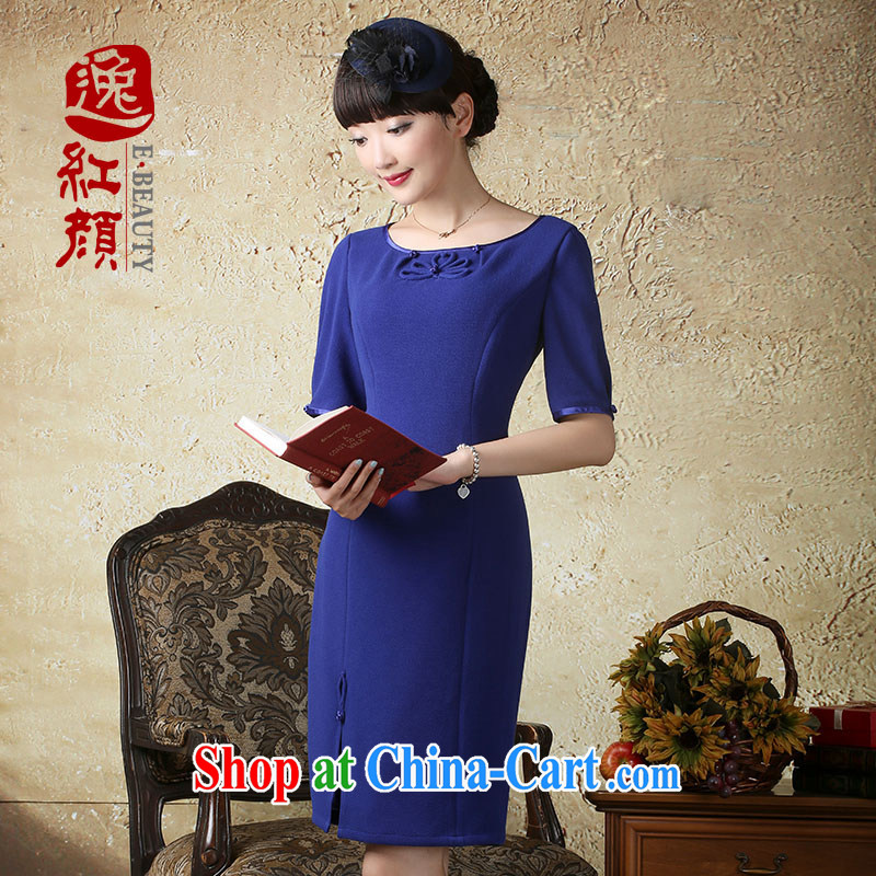 once and for all and _proverbial hero is new, Choo, stretch the cuff round-collar dress China National wind stylish short skirts Tibetan blue XL