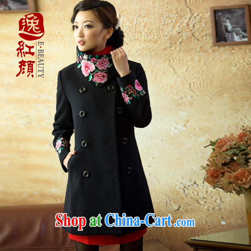 once and for all and fatally jealous Rouge 2015 Spring and Autumn and the new Ms.? gross coat ethnic wind girls woolen coat black 3XL