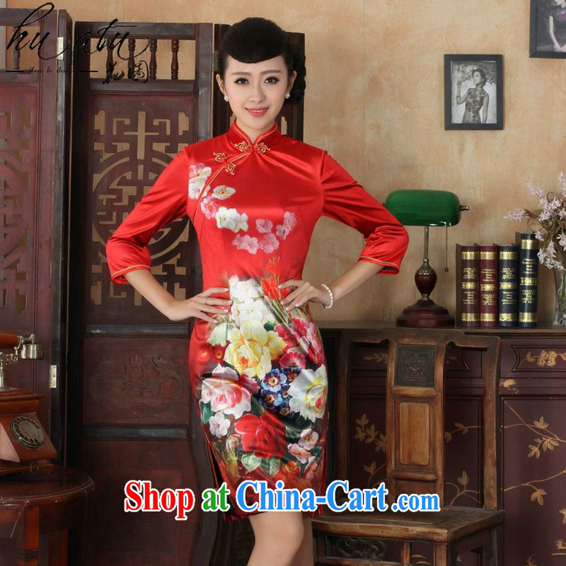 Take the dresses fall short with the new Chinese improved, for female gold velour poster beauty cheongsam dress uniform performances such as figure 3 XL