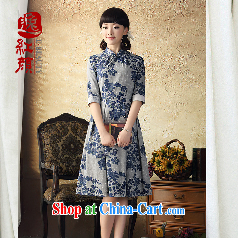 once and for all and Cheong Wa Dae fatally jealous rattan stamp cheongsam dress 2015 spring and summer new cultivating China in the wind skirt cuff Navy XL