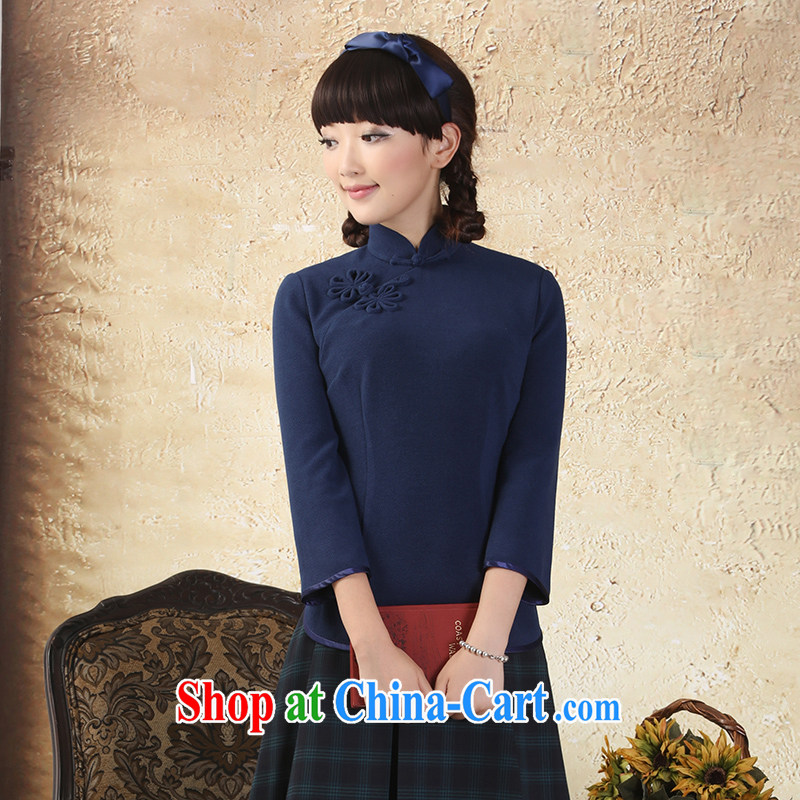 proverbial hero once and for all and $7 yet the cuff T-shirt outfit improved autumn installed China wind Chinese Tang Women's clothes ethnic wind hidden cyan 2 XL