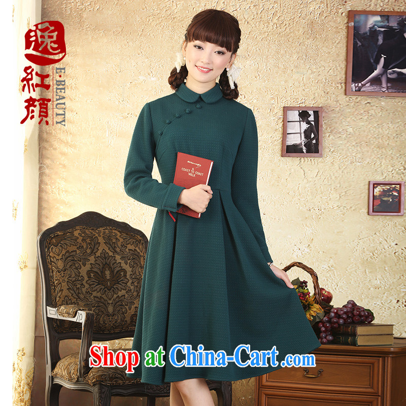 once and for all organizations fatally jealous Athena China National wind 9 cuff dress fall and winter new retro art skirt green XL - October 24 future delivery