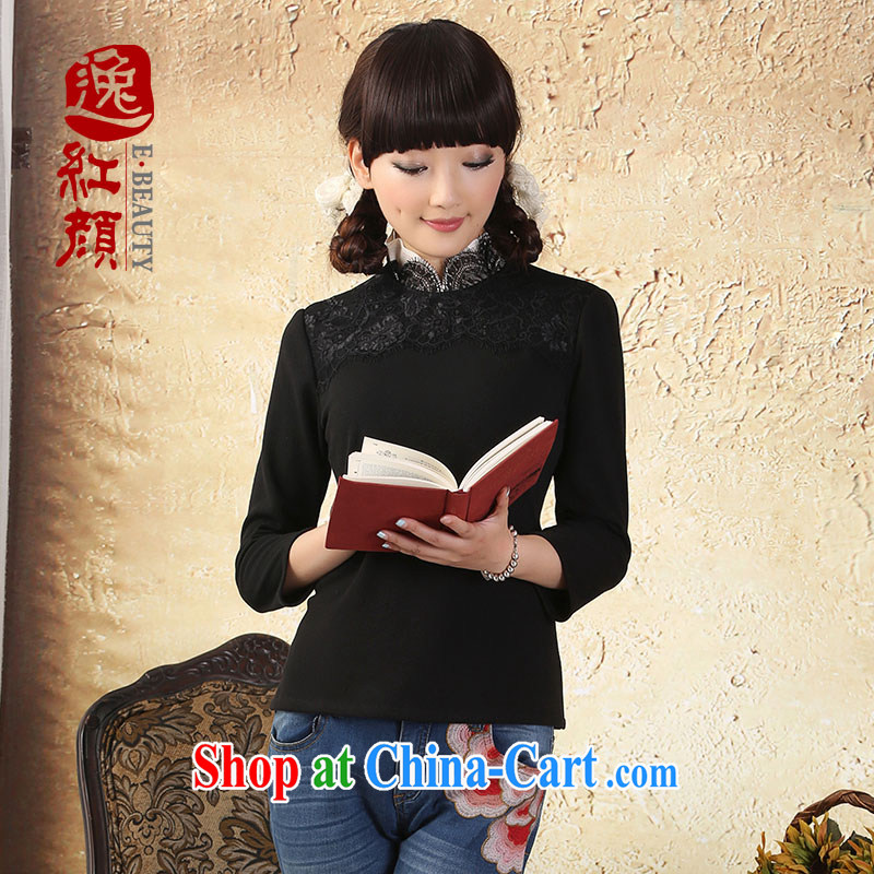 Once the proverbial hero Yu lace-up collar Chinese T-shirt Chinese wind improved cheongsam shirt autumn new ethnic wind black XL