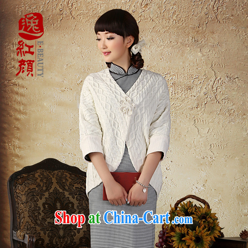 Once the proverbial hero such as high-end knitting T-shirt girls cardigan jacket 2015 autumn and winter with new national arts wind jacket white L