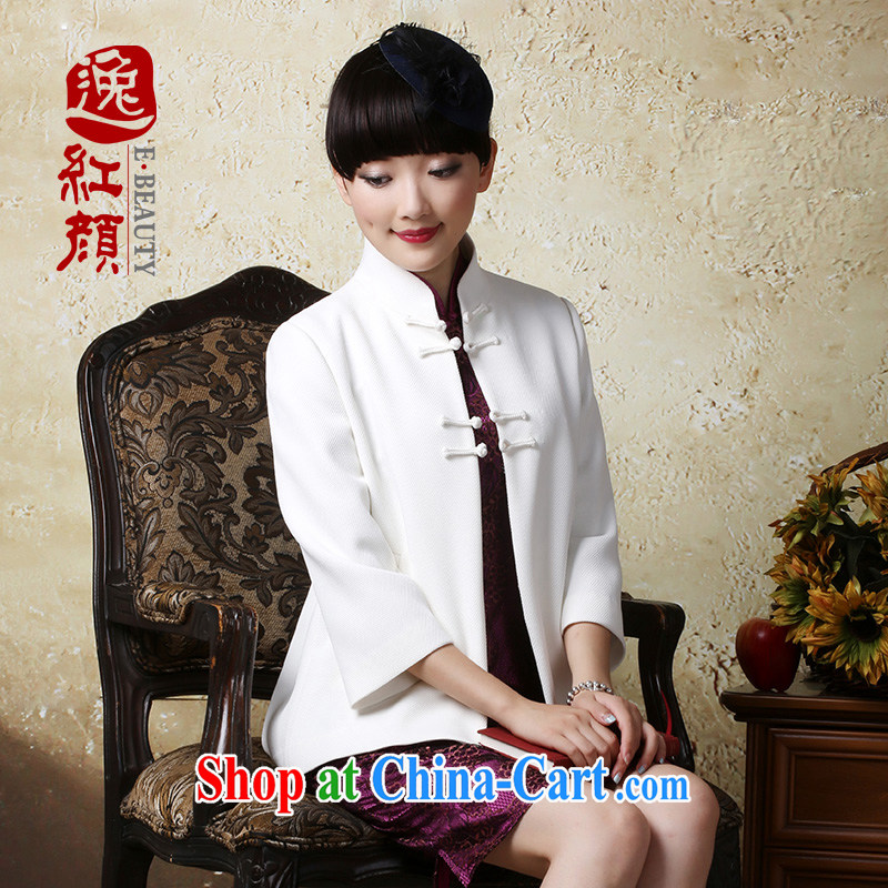 once and for all, proverbial hero-yuan and stylish outfit, Ms. T-shirt improved Autumn with China wind Chinese jacket female ethnic wind white 2XL