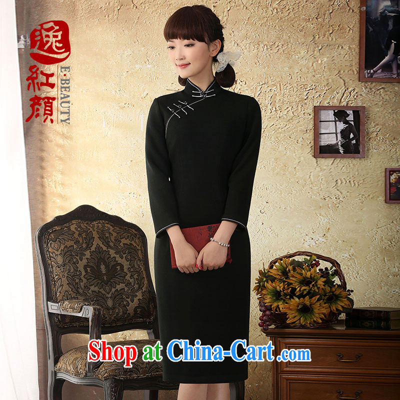 proverbial hero once and for all, in high-end wool dresses? dresses 2015 winter clothing improved fashion cheongsam dress black 2 XL