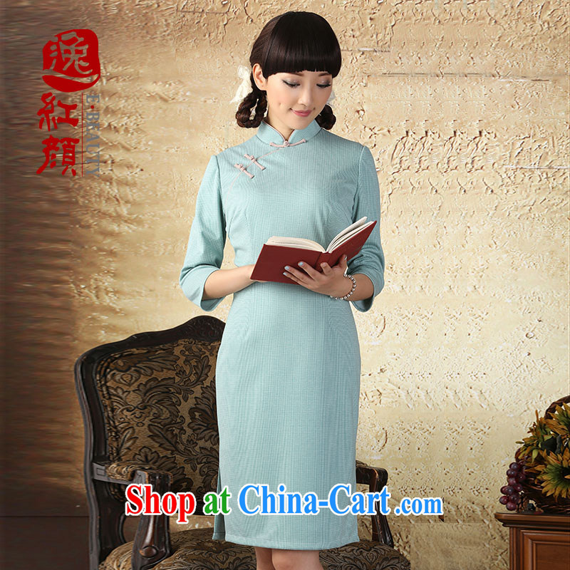 proverbial hero once and for all, in white dresses sleeveless dresses retro elegant autumn 2015 the cheongsam dress improved stylish beauty water green XL