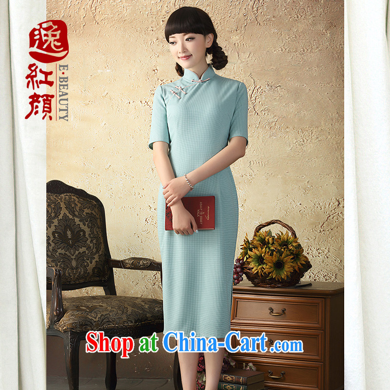 once and for all, fatally jealous white New cheongsam dress retro long 2015 spring and summer wear cheongsam dress improved stylish beauty water green 2 XL