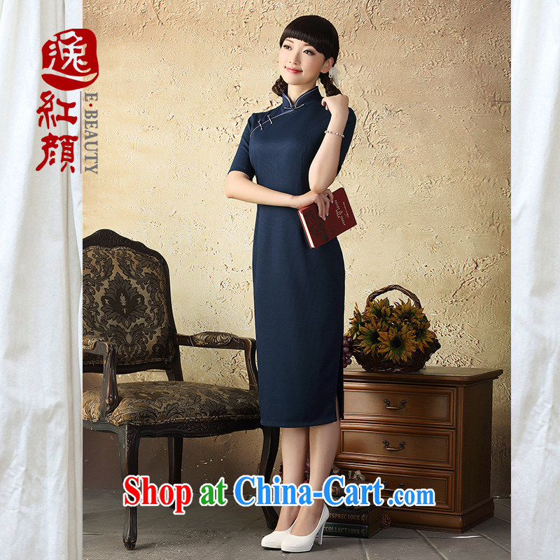 once and for all silence proverbial hero Shu cheongsam dress retro long, spring and autumn 2015 new cheongsam dress improved stylish beauty hidden cyan 2 XL