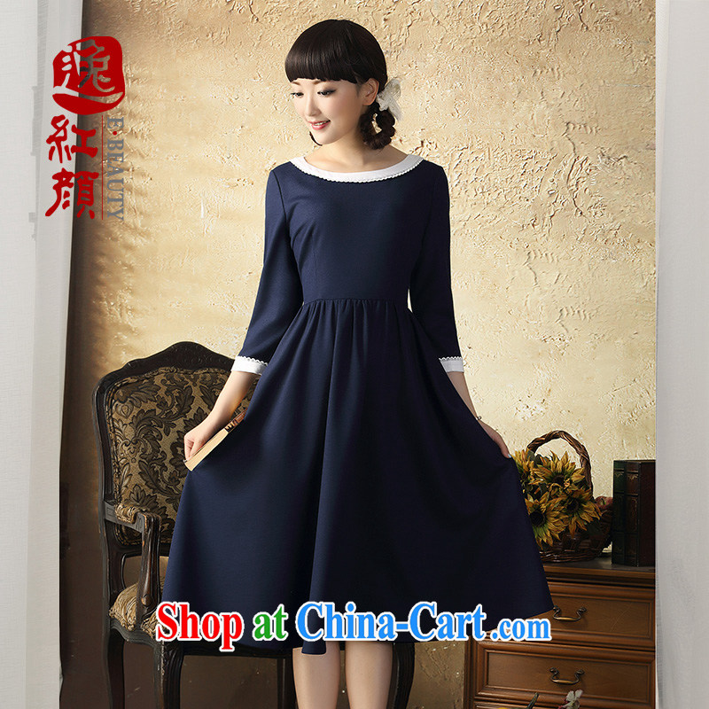 once and for all and fatally jealous waltz China wind round-collar large dresses fall and winter New National wind in cuff knitted dress hidden cyan 2 XL