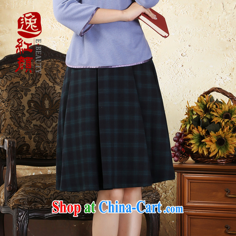 Once the proverbial hero Philip retro elegant plaid body skirt autumn new Chinese ethnic wind body dresses Diane green XL