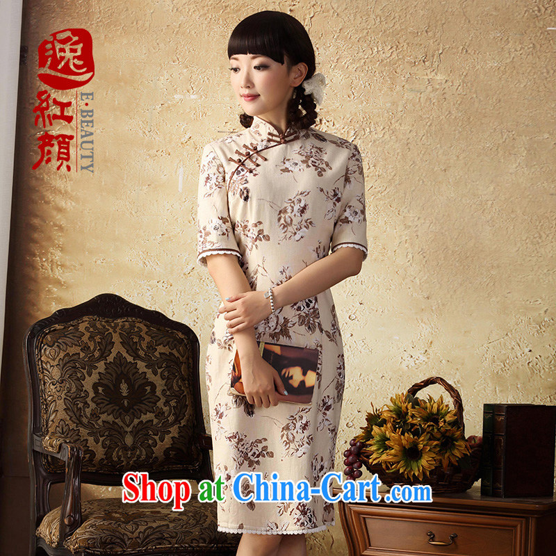 once and for all and fatally jealous ? cotton linen stamp cheongsam dress 2015 spring and summer improved stylish and cultivating the cotton robes-yellow Baoying Chairman XL