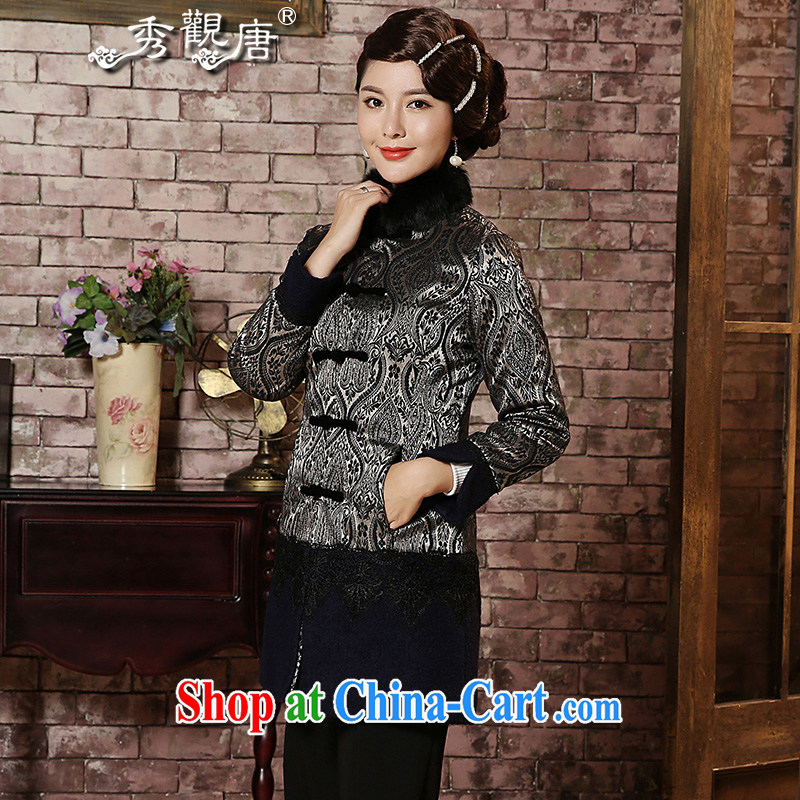 The CYD HO Kwun Tong' seeking for gross quilted coat 2015 winter clothing new thick Ms. quilted coat with TC 4929 gray S
