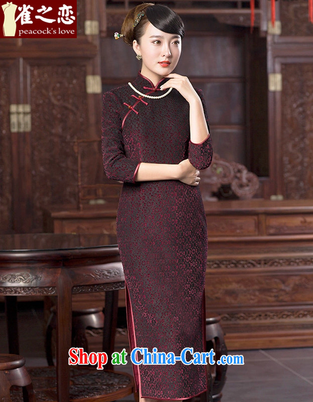 Bird lovers of 2015 spring new lace wool composite cheongsam dress improved stylish long cheongsam shown in Figure XXL