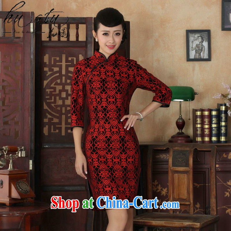 Take the Chinese qipao Autumn with new and improved for female lace velvet cheongsam beauty skirt 7 cuff performance service 5 red 3 XL