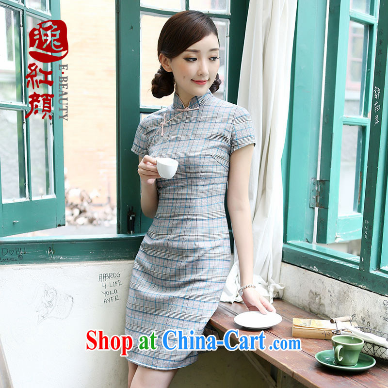once and for all and fatally jealous love checkered skirt dresses summer improved stylish cultivating new cheongsam dress suit XL