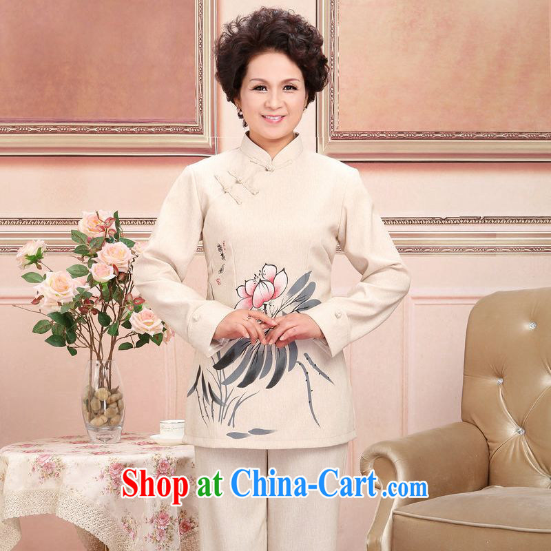 Jing An older Chinese men and women couples taxi loaded spring and fall jacket cotton long-sleeved T-shirt the pants kit, white package 3 XL