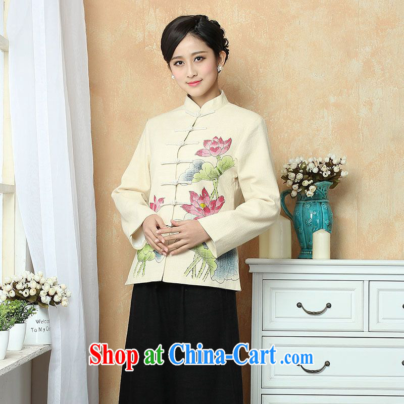 An Jing female Tang with autumn and winter Load T-shirt jacket, cotton for the Chinese T-shirt national costume show clothing - 2 beige 3XL